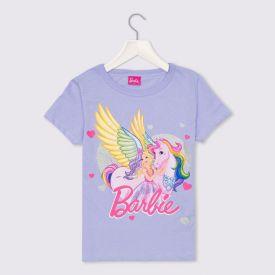 Blusa 4 a 10 anos Malha Barbie Unicórnio Mattel Lilas