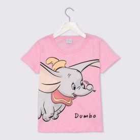 Blusa 4 a 10 anos Malha Dumbo Disney Rosa Petala