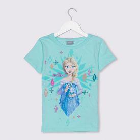 Blusa 4 a 10 anos Malha Frozen II Elsa Disney Azul Agua