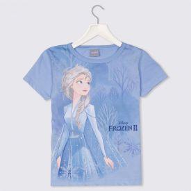 Blusa 4 a 10 anos Malha Frozen II Elsa Glitter Disney Azul Claro
