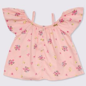 Blusa 4 a 10 anos Popeline Flowers Fakini Delicate Rosa