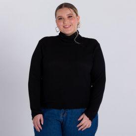 Blusa Canelada Plus Size Patrícia Foster Mais Preto