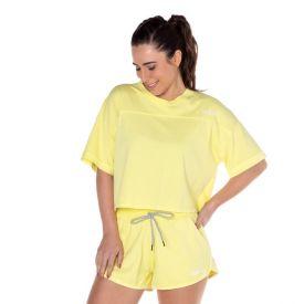 Blusa Cropped Estonada com Silk Scream Amarelo Lima