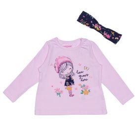 Blusa de Bebê Estampada com Faixa de Brinde Yoyo Baby Rosa Claro
