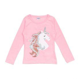 Blusa de Bebê Malha Unicórnio Fakini Rosa Claro