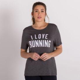 Blusa Malha Viscose I Love Running Scream Mescla Escuro