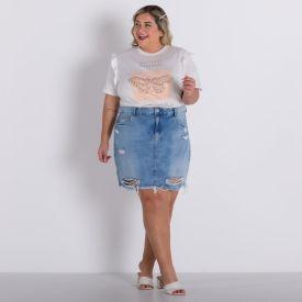 Blusa Plus Size Babados Patricia Foster Mais Off White