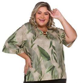 Blusa Plus Size com Aviamento Patrícia Foster Mais Folhagem Cipreste