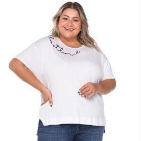 Blusa Plus Size com Bordado Patrícia Foster Mais Off White