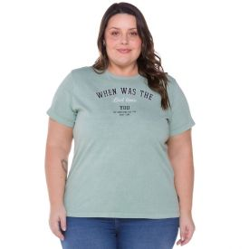 Blusa Plus Size com Escrita Patrícia Foster Mais Verde
