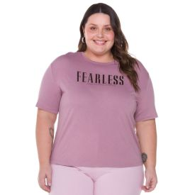 Blusa Plus Size com Foil Patrícia Foster Mais Rose
