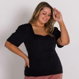 Blusa Plus Size Decote Quadrado Patricia Foster Mais Preto