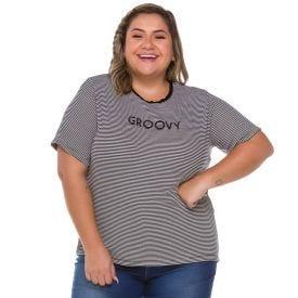 Blusa Plus Size Listrada com Bordado Patrícia Foster Mais Listrado