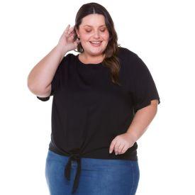 Blusa Plus Size Viscose com Amarração Patrícia Foster Mais Preto