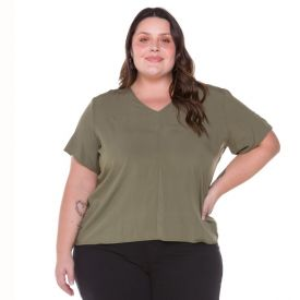 Blusa Plus Size Viscose com Recorte Patrícia Foster Mais Verde Olive