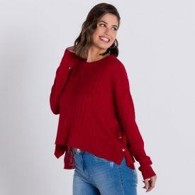 Blusa Tricot com Botões Lateral Patrícia Foster Vermelho