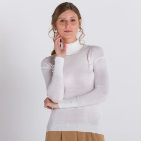 Blusa Tricot Leve com Pérolas no Punho Patrícia Foster Branco