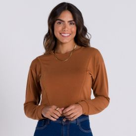 Blusão Cropped Moleconfort com Recorte Patrícia Foster Caramelo Sierra