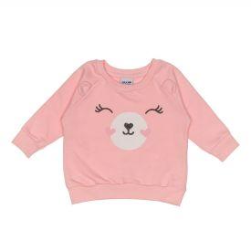 Blusão de Bebê em Moletom com Estampa de Urso Fakini Rosa Palido