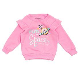 Blusão de Bebê Moletom Rosquinha Space Lantejoulas Yoyo Baby Rosa Chiclete
