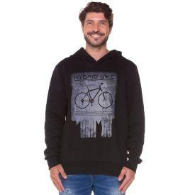Blusão Moletom Felpado Bike com Capuz Marc Alain Preto