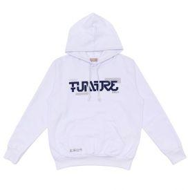 Blusão Moletom Felpado Future com Capuz Fakini Branco