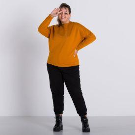 Blusão Plus Size Bordado Patricia Foster Mais Ocre