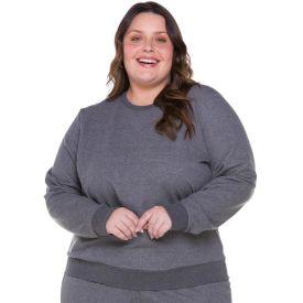 Blusão Plus Size em Moletom Felpado Patricia Foster Mais Mescla Escuro