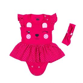 Body de Bebê com Sainha Poá e Tiara Lacinho Yoyo Baby Pink