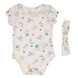 Body de Bebê Cotton Floral + Brinde Tiara Yoyo Baby Estampado