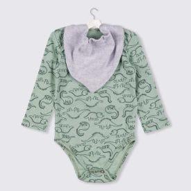 Body de Bebê Dinos + Brinde Babador Yoyo Baby Mescla Verde Rotativo