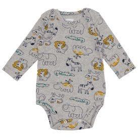 Body de Bebê Malha Suedine Estampado Alakazoo Bichos Da Savana