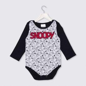 Body de Bebê Snoopy Rotativo Peanuts Preto