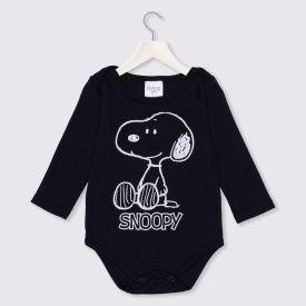 Body de Bebê Snoopy Sentado Peanuts  Preto