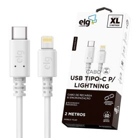 Cabo Lightning Usb Tipo-C 2 Metros Elg Tcl20 - Branco