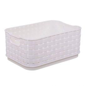 Caixa Organizadora Finecasa Rattan 520Ml - Branco