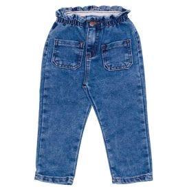 Calça 1 a 3 anos Jeans Clochard Bolsos Frontais Yoyo Kids Azul