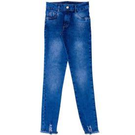 Calça 12 a 16 anos Jeans Jegging + Rasgo Barra Marmelada Jeans