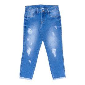 Calça 4 a 10 Anos com Tachas e Puídos Marmelada Jeans