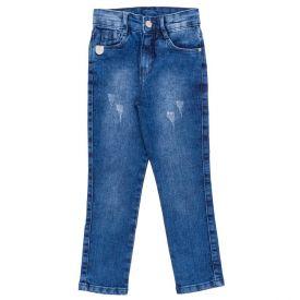 Calça 4 a 10 Anos Jeans Skinny com Puídos Hot Dog