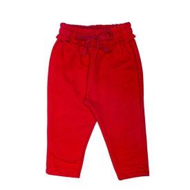 Calça de Bebê Moletom Felpado e Laço Fakini Vermelho