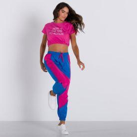 Calça de Tactel com Recortes Scream Azul E Pink