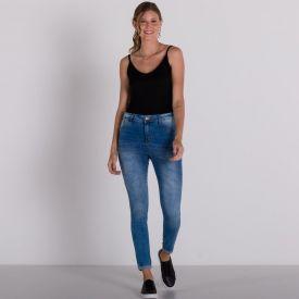 Calça Jeans Cigarrete Barra Dobrada Patrícia Foster Azul Claro