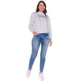 Calça Jeans Cigarrete com Bigode Patrícia Foster Blue