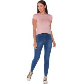 Calça Jeans Cigarrete com Bigodes Patrícia Foster Azul Medio