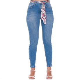 Calça Jeans Cigarrete com Cinto Lenço Patrícia Foster Blue