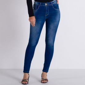 Calça Jeans Cigarrete com Detalhes Estonados Patrícia Foster Azul Medio