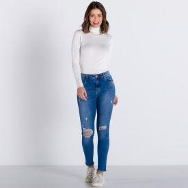 Calça Jeans Cigarrete com Rasgos Patrícia Foster Blue Medio