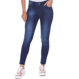 Calça Jeans Cigarrete com Strass Zune By Sabrina Sato Dark Blue
