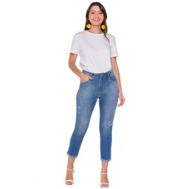 Calça Jeans Cigarrete Cropped Patrícia Foster Azul Claro